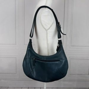 Tignanello Blue Leather Shoulder Bag